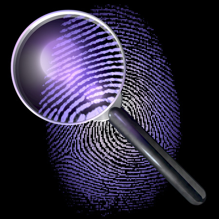 Magnifying glass over fingerprint made of dot grid, showing natural fingerprint, uv lit scene photo