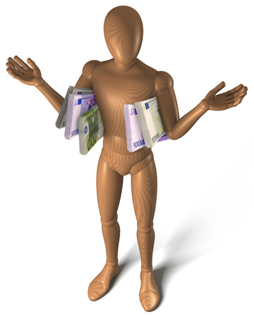 figur: Figur innocently holding up arms with bribe money under them