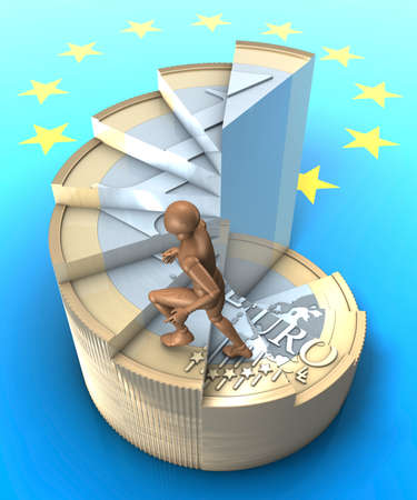 Figure climbing up winding-stairs made of one euro coin photo