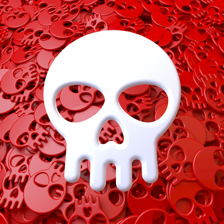 White skull in front of pool, heap of small red skulls, cartoon style photo
