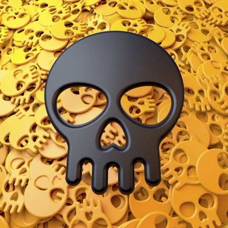 Black skull in front of pool, heap of small yellow skulls, cartoon style photo
