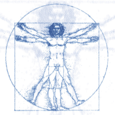 Leonardo Da Vinci s Vitruvian Man, Homo Quadratus, grid of ones and zeroes Stock Photo