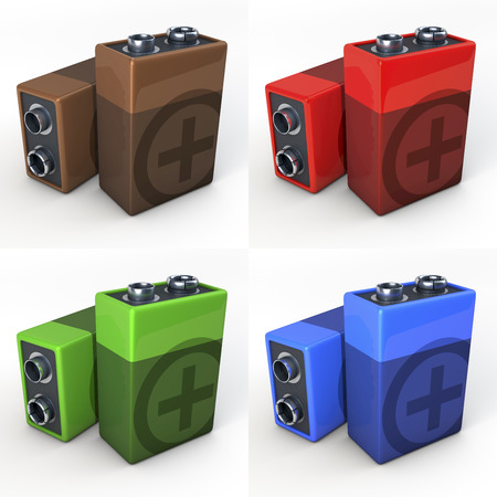 9v battery: Nine volt battery, shown in copper, red, green and blue finish, set, 3d rendering on white background