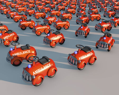 Big group of toy ambulance cars in sunset lighting, 3d rendering photo