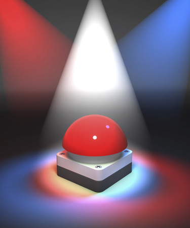 buzzer: Red gameshow buzzer in colorful spotlight, white, red, blue, 3d rendering Stock Photo