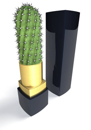Lipstick cactus, unusual, strange depiction, 3d rendering