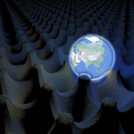 Unusual depiction of glowing planet earth in an egg carton box, asia in view, 3d rendering photo