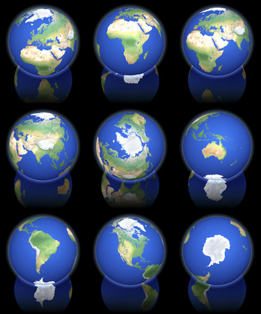 Earth views from orbit, set of nine, africa, asia, australia, europe, north america, north pole, south america, south pole, 3d rendering on black reflecting background photo