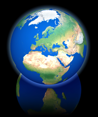 northpole: Earth view from orbit, europe, 3d rendering on black reflecting background