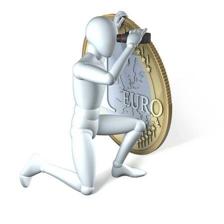 Human character, man looking over the edge of a one euro coin with a pair of binoculars, 3d rendering on white background photo