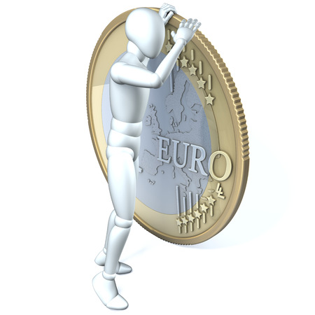 Human character, man looking over the edge of a one euro coin, 3d rendering on white background photo