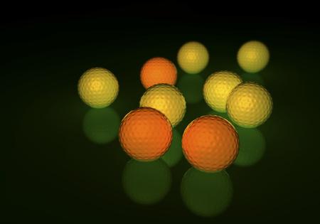 Gruppe von gelben und orange Golfbälle, glühend auf einer reflektierenden Oberfläche, 3D-Rendering auf dunklem Hintergrund