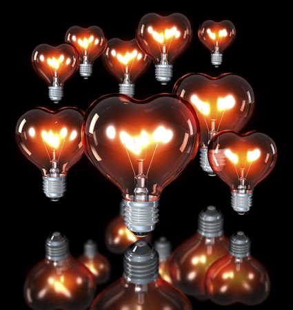 happy birtday: Group of classical light bulbs, heart shaped, glowing yellow red, 3d rendering on a dark background, over reflecting surface