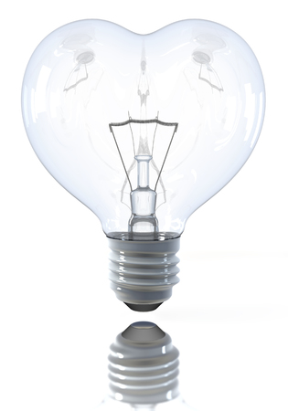 Heart shaped classical light bulb, switched off, 3d rendering on white background