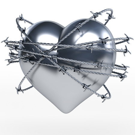 Reflecting steel, metal heart surrounded by shiny barbwire, 3d rendering on white background