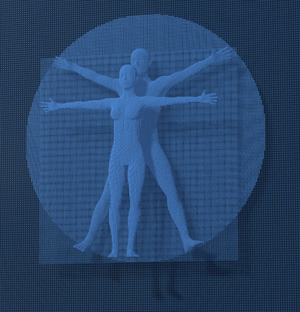 Leonardo Da Vinci Vetruvian Man, Homo Quadratus depicted in a grid of small blue cubes, voxels, digital style, 3d rendering