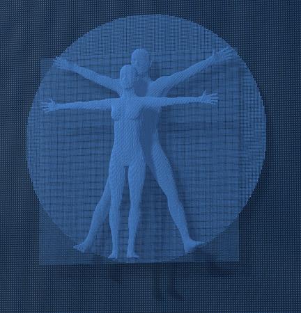 leonardo davinci: Leonardo Da Vinci Vetruvian Man, Homo Quadratus depicted in a grid of small blue cubes, voxels, digital style, 3d rendering