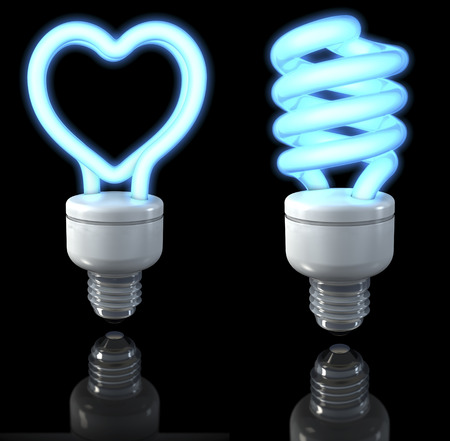 fluorescent lights: Fluorescent lamps, spiral shaped, heart shaped, blue glow, 3d rendering on dark background Stock Photo