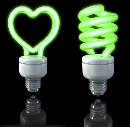 fluorescent lights: Fluorescent lamps, spiral shaped, heart shaped, green glow, 3d rendering on dark background