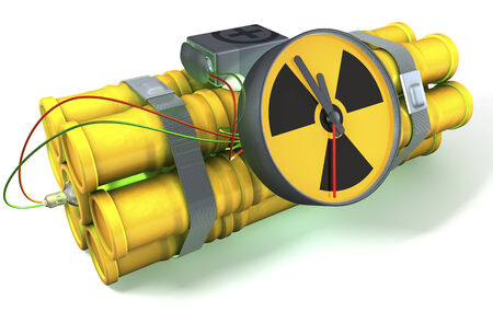 nuclear bomb: Nuclear time bomb with a light green glow, 3d rendering on white background Stock Photo