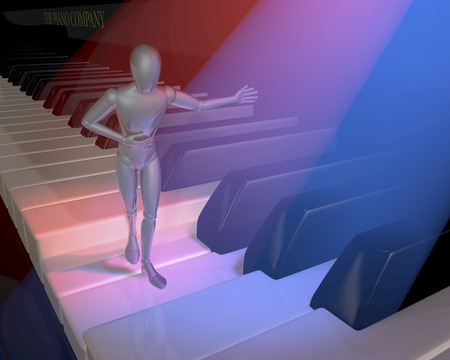 figur: Figur, character, show host presenting on a piano keyboard, clavier, lit in red and blue spotlights, 3d rendering Stock Photo