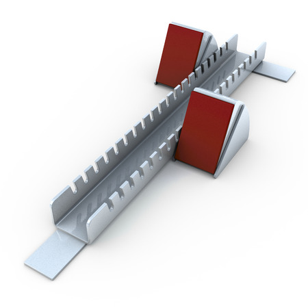 Starting block, 3d rendering on white Stock Photo