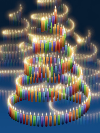 advent candles: Abstract xmas tree shaped by a colorful candle spiral, in front of blue gradient background, 3d rendering Stock Photo