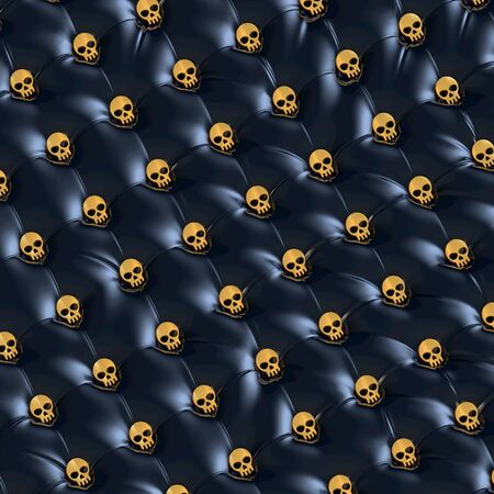 chesterfield: Upholstery surface, chesterfield style, material black latex, knobs golden skulls, 3d rendering