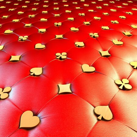 chesterfield: Upholstery surface, chesterfield style, material red leather, knobs gold game cards symbols, hearts, spades, diamonds, clubs, 3d rendering, central perspective