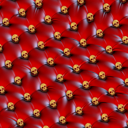 chesterfield: Upholstery surface, chesterfield style, material red black leather, knobs golden skulls, 3d rendering, military perspective
