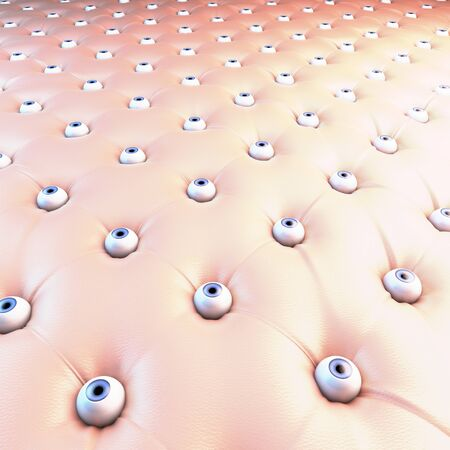 chesterfield: Upholstery surface, chesterfield style, material red latex, knobs eyes, eye balls, 3d rendering Stock Photo