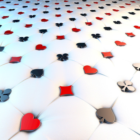 chesterfield: Upholstery surface, chesterfield style, material white leather, knobs red and white game cards symbols, hearts, spades, diamonds, clubs, 3d rendering, military perspective