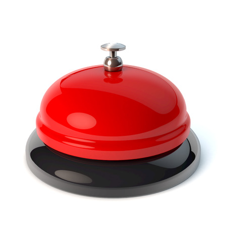 Classical desktop bell, reception bell, game show buzzer style, 3d rendering