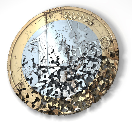 rotten: One euro coin, rotten, used, shabby, with scratches, 3d rendering
