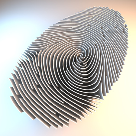 Dimensional fingerprint made of walls, standing on white background, 3d rendering Imagens - 39140702