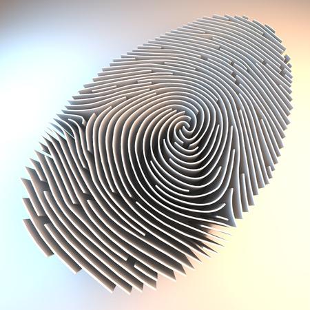 fingerprint: Dimensional fingerprint made of walls, standing on white background, 3d rendering