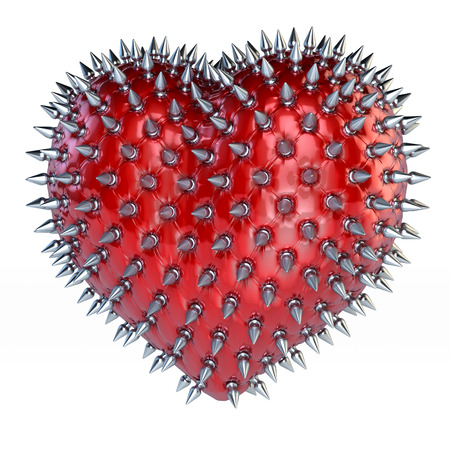 Red latex heart with silver, steel spikes, chesterfield look, 3d rendering, isolated on white background