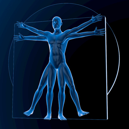 known: Leonardo da Vinci Vitruvian Man, translucent blue on dark background, no bones, 3d rendering Stock Photo