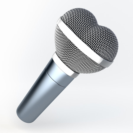 Heart shaped hand microphone, black glossy, 3d rendering photo