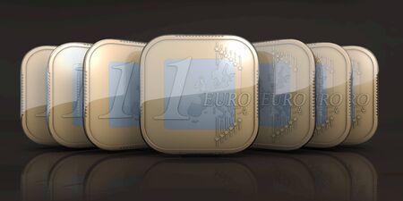 frontal: Euro coins in classical app icon appearance staggered, flowing after oneanother, 3d rendering, frontal view, in front of blue gradient background