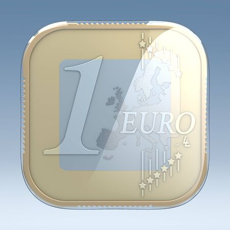 frontal view: One euro coin in classical app icon appearance, 3d rendering, frontal view, in front of blue gradient background