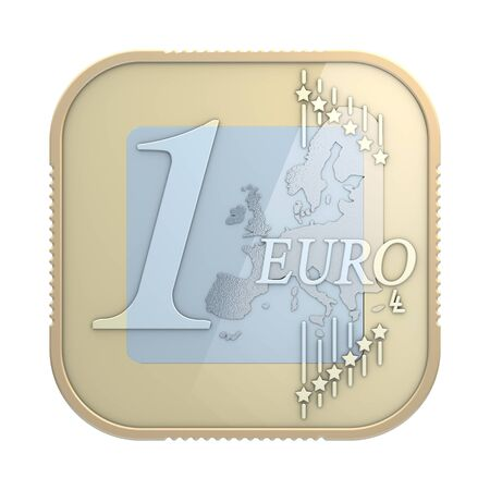frontal: One euro coin in classical app icon appearance, 3d rendering, frontal view, isolated in front of white