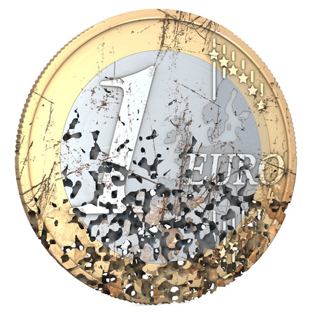 deflation: One euro coin, rotten, used, shabby, with scratches, 3d rendering