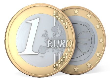 One euro coin, front and back, 3d rendering, isolated on white background photo