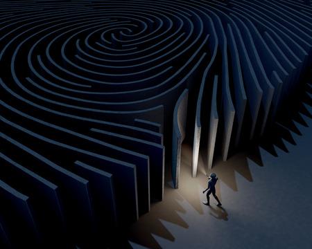 investigaci�n: Hombre, car�cter explorando, investigando entrada del laberinto de huellas digitales, representaci�n 3D Foto de archivo