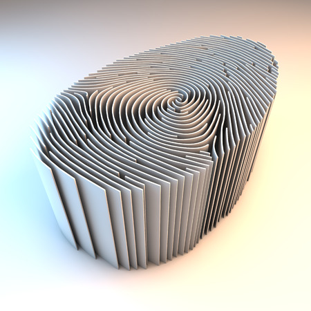 theft proof: Dimensional fingerprint made of walls, standing on white background, 3d rendering