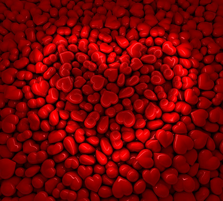 reflecting: Pool of red reflecting hearts showing a heart sign, symbol as a reflecting light line, 3d rendering
