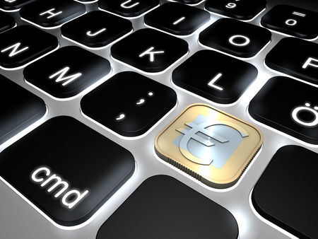 Lit keyboard with special euro coin sign key, 3d rendering photo