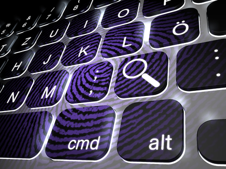 theft proof: Lit keyboard with special magnifying glass key plus giant fingerprint on keys, 3d rendering