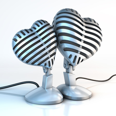 Two cuddling, snuggled up classical metal studio microphones in the shape of hearts on a white reflecting surface, 3d rendering photo